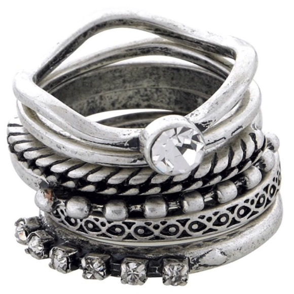 Jewelry - Set Of 6 Antique Silver Stackable Rings, NWT